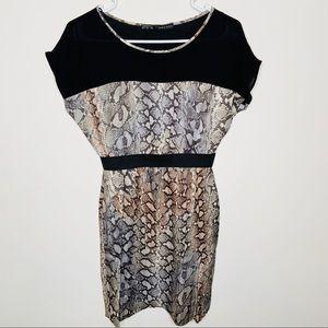 Zara Snake Printed Black Mini Dress Small
